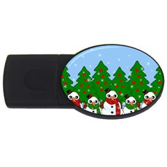 Kawaii Snowman Usb Flash Drive Oval (2 Gb) by Valentinaart