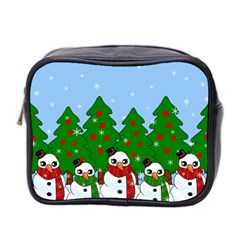 Kawaii Snowman Mini Toiletries Bag 2 Side by Valentinaart