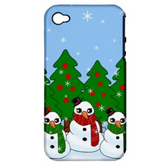 Kawaii Snowman Apple Iphone 4/4s Hardshell Case (pc+silicone) by Valentinaart