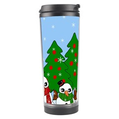 Kawaii Snowman Travel Tumbler by Valentinaart