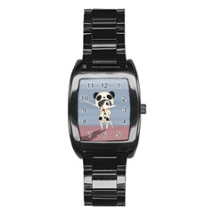 Kawaii Panda Girl Stainless Steel Barrel Watch by Valentinaart