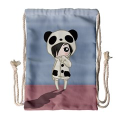 Kawaii Panda Girl Drawstring Bag (large) by Valentinaart