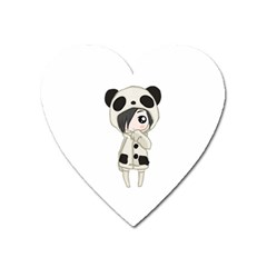 Kawaii Panda Girl Heart Magnet by Valentinaart