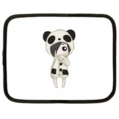 Kawaii Panda Girl Netbook Case (large) by Valentinaart