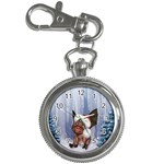 Christmas, Cute Little Piglet With Christmas Hat Key Chain Watches Front