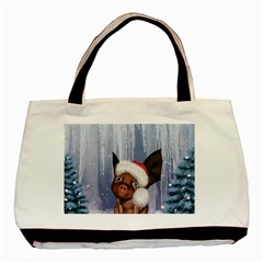 Christmas, Cute Little Piglet With Christmas Hat Basic Tote Bag by FantasyWorld7