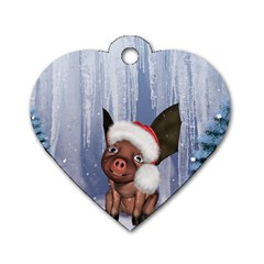 Christmas, Cute Little Piglet With Christmas Hat Dog Tag Heart (two Sides) by FantasyWorld7