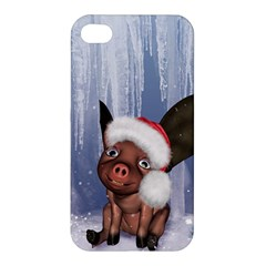Christmas, Cute Little Piglet With Christmas Hat Apple Iphone 4/4s Hardshell Case by FantasyWorld7