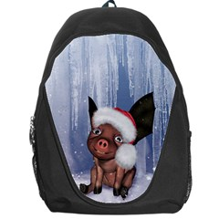 Christmas, Cute Little Piglet With Christmas Hat Backpack Bag by FantasyWorld7