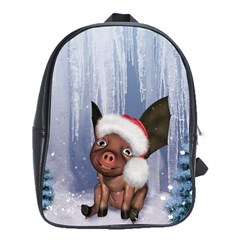 Christmas, Cute Little Piglet With Christmas Hat School Bag (xl) by FantasyWorld7