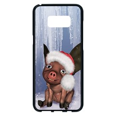 Christmas, Cute Little Piglet With Christmas Hat Samsung Galaxy S8 Plus Black Seamless Case by FantasyWorld7