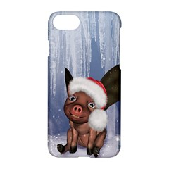 Christmas, Cute Little Piglet With Christmas Hat Apple Iphone 8 Hardshell Case by FantasyWorld7