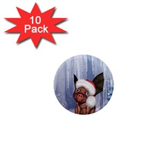 Christmas, Cute Little Piglet With Christmas Hat 1  Mini Magnet (10 Pack)  by FantasyWorld7