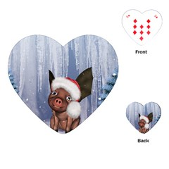 Christmas, Cute Little Piglet With Christmas Hat Playing Cards (heart)  by FantasyWorld7