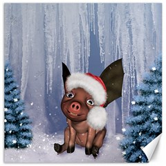 Christmas, Cute Little Piglet With Christmas Hat Canvas 12  X 12   by FantasyWorld7
