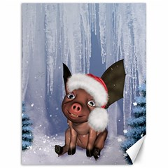 Christmas, Cute Little Piglet With Christmas Hat Canvas 12  X 16   by FantasyWorld7