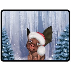 Christmas, Cute Little Piglet With Christmas Hat Fleece Blanket (large)  by FantasyWorld7