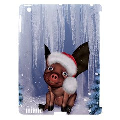 Christmas, Cute Little Piglet With Christmas Hat Apple Ipad 3/4 Hardshell Case (compatible With Smart Cover) by FantasyWorld7