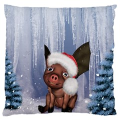 Christmas, Cute Little Piglet With Christmas Hat Large Cushion Case (two Sides) by FantasyWorld7