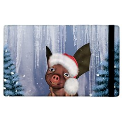 Christmas, Cute Little Piglet With Christmas Hat Apple Ipad 2 Flip Case