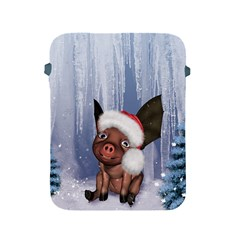 Christmas, Cute Little Piglet With Christmas Hat Apple Ipad 2/3/4 Protective Soft Cases by FantasyWorld7