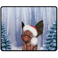Christmas, Cute Little Piglet With Christmas Hat Double Sided Fleece Blanket (medium)  by FantasyWorld7