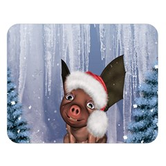 Christmas, Cute Little Piglet With Christmas Hat Double Sided Flano Blanket (large)  by FantasyWorld7