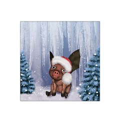Christmas, Cute Little Piglet With Christmas Hat Satin Bandana Scarf by FantasyWorld7