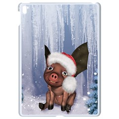 Christmas, Cute Little Piglet With Christmas Hat Apple Ipad Pro 9 7   White Seamless Case by FantasyWorld7