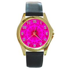 Pattern Round Gold Metal Watch by gasi
