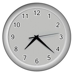 Grey And White Simulated Carbon Fiber Wall Clocks (silver)  by PodArtist