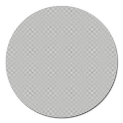Grey And White Simulated Carbon Fiber Magnet 5  (round) by PodArtist