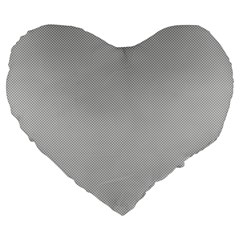 Grey And White Simulated Carbon Fiber Large 19  Premium Heart Shape Cushions by PodArtist
