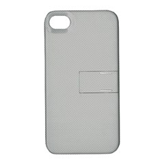 Grey And White Simulated Carbon Fiber Apple Iphone 4/4s Hardshell Case With Stand by PodArtist
