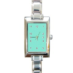 Tiffany Aqua Blue With White Lipstick Kisses Rectangle Italian Charm Watch