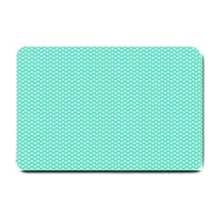 Tiffany Aqua Blue With White Lipstick Kisses Small Doormat  by PodArtist