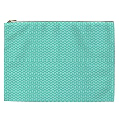 Tiffany Aqua Blue With White Lipstick Kisses Cosmetic Bag (xxl)  by PodArtist