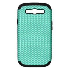 Tiffany Aqua Blue With White Lipstick Kisses Samsung Galaxy S Iii Hardshell Case (pc+silicone) by PodArtist