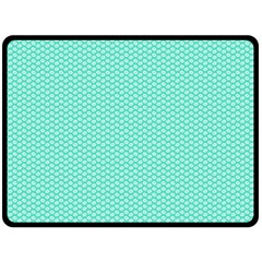Tiffany Aqua Blue With White Lipstick Kisses Double Sided Fleece Blanket (large)  by PodArtist