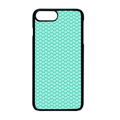 Tiffany Aqua Blue With White Lipstick Kisses Apple Iphone 7 Plus Seamless Case (black)