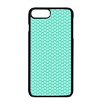 Tiffany Aqua Blue with White Lipstick Kisses Apple iPhone 7 Plus Seamless Case (Black) Front