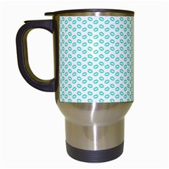 Tiffany Aqua Blue Lipstick Kisses On White Travel Mugs (white) by PodArtist