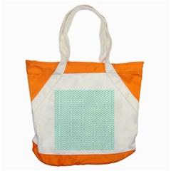 Tiffany Aqua Blue Lipstick Kisses On White Accent Tote Bag by PodArtist