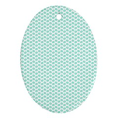 Tiffany Aqua Blue Lipstick Kisses On White Oval Ornament (two Sides) by PodArtist