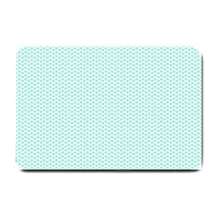 Tiffany Aqua Blue Lipstick Kisses On White Small Doormat  by PodArtist