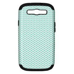 Tiffany Aqua Blue Lipstick Kisses On White Samsung Galaxy S Iii Hardshell Case (pc+silicone) by PodArtist