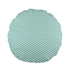 Tiffany Aqua Blue Lipstick Kisses On White Standard 15  Premium Round Cushions by PodArtist