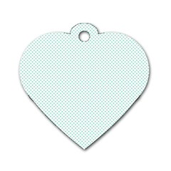 Tiffany Aqua Blue Candy Polkadot Hearts On White Dog Tag Heart (two Sides) by PodArtist