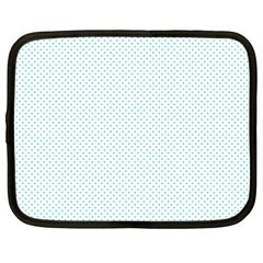 Tiffany Aqua Blue Candy Polkadot Hearts On White Netbook Case (large) by PodArtist