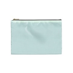 Tiffany Aqua Blue Candy Polkadot Hearts On White Cosmetic Bag (medium)  by PodArtist